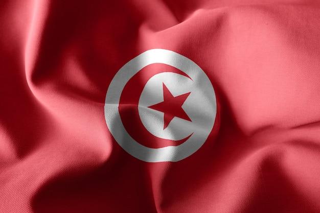 Rendu 3d réaliste agitant le drapeau de soie de la tunisie