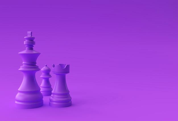 Rendu 3d réaliste d'échecs roi tour et pions illustration de soldat design.