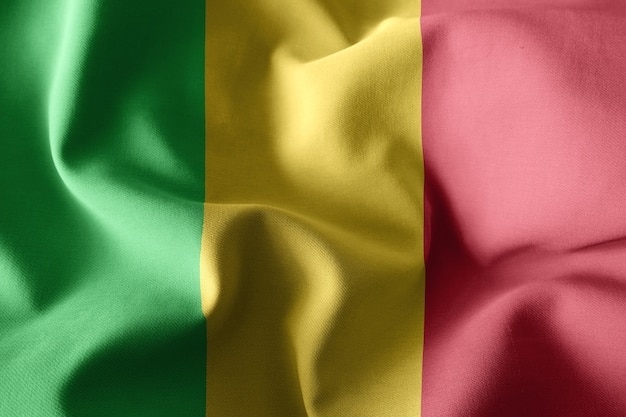 Rendu 3d réaliste ondulant le drapeau de soie du mali