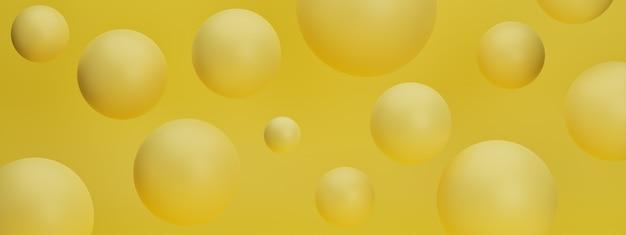 Rendu 3d réaliste avec des sphères de bulles volantes jaunes sur fond pastel