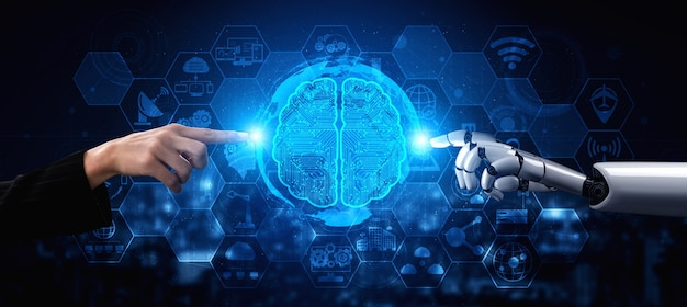 Rendu 3d de la recherche en intelligence artificielle sur le développement de robots et de cyborgs pour l'avenir des personnes vivant