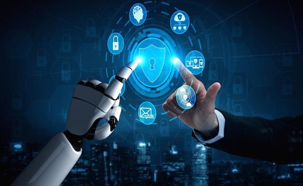 Rendu 3d de recherche en intelligence artificielle sur le robot et le cyborg