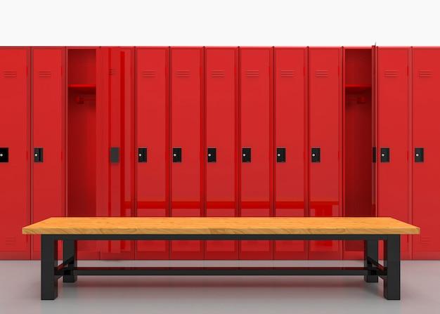 Rendu 3d de red lockers row avec banc en bois marron