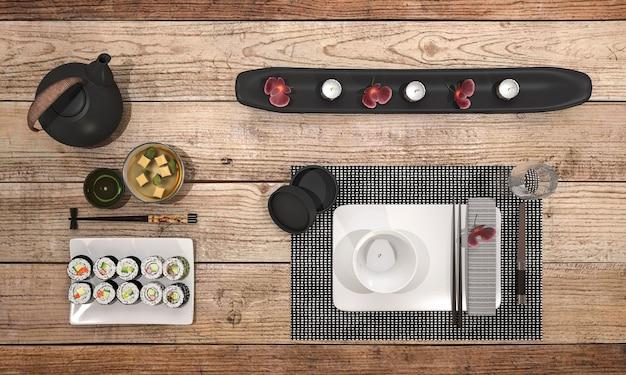 Rendu 3d regarder délicieux assiette de sushi avec bol noir soupe sur la table à manger