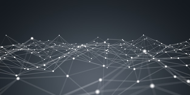 Rendu 3d réseau flottant de points blancs et bleus