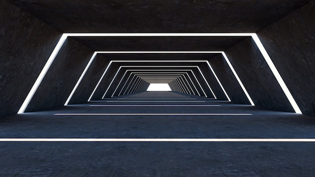 Rendu 3d de résumé dans une grande salle, forme hexagonale