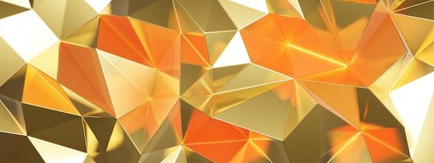 Rendu 3d de résumé doré avec des triangles
