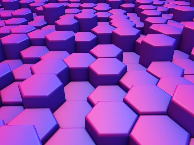 Rendu 3d d'un résumé d'hexagones d'extrusion