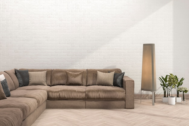 Rendu 3d rétro canapé marron dans le salon minimal avec mur de briques