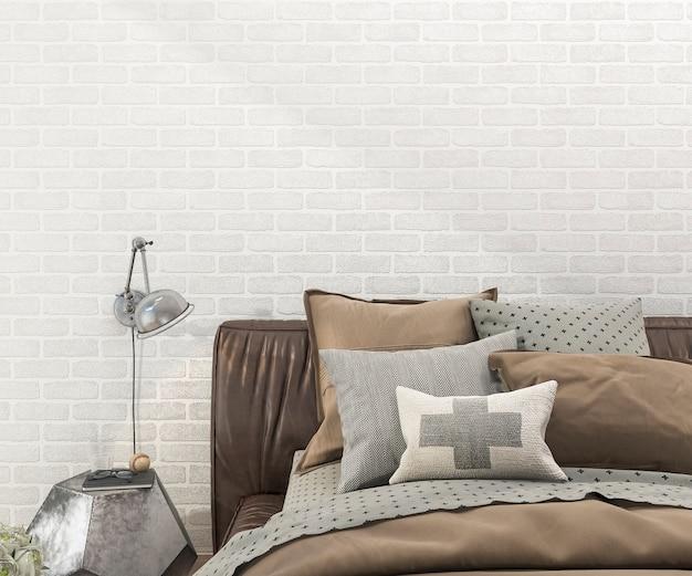 Rendu 3d rétro lit marron dans la chambre à coucher avec mur de briques