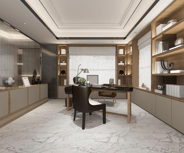 Rendu 3d de réunion d'affaires de luxe et salle de travail dans le bureau à domicile