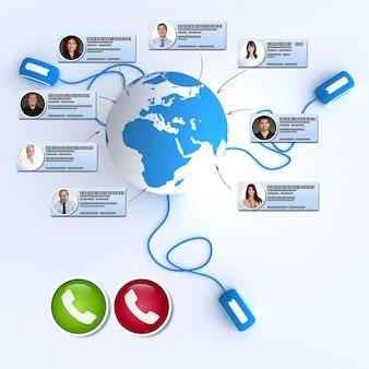 Rendu 3d d'une réunion internationale en ligne