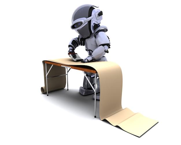 Rendu 3d de robots décorer avec du papier peint