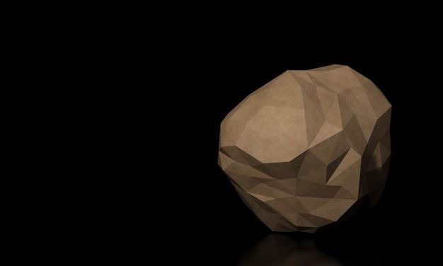 Rendu 3d de roche de grès brun low poly.