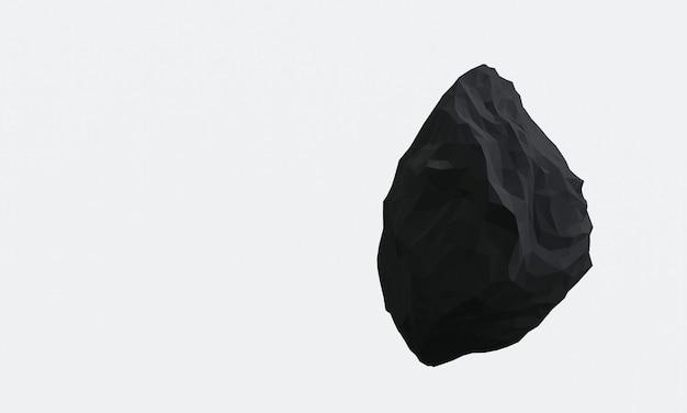 Rendu 3d de roche noire sur fond blanc.