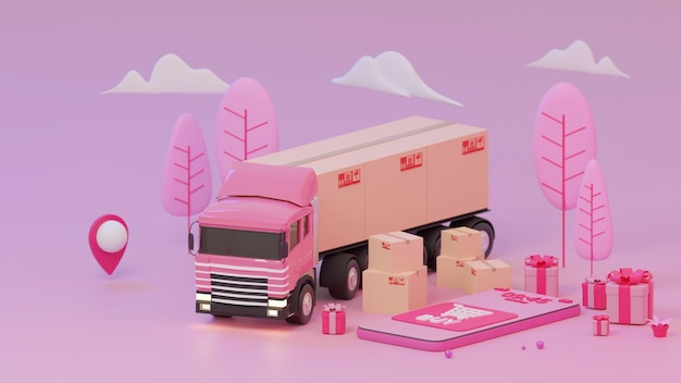 Rendu 3d rose boutique et camion avec icône de localisation sur fond rose shopping concept en ligne