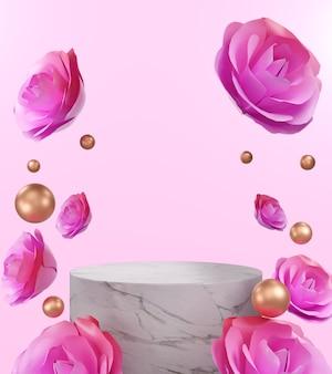 Rendu 3d rose rose avec podium en marbre, fond abstrait pour montrer des cosmétiques ou des produits.