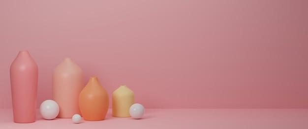 Rendu 3d rose vases en céramique décorés à la maison et pot sur fond rose avec copie espace illustration 3d