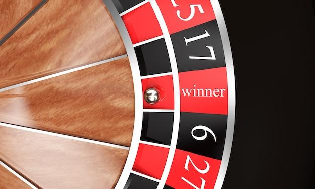 Rendu 3d de roulette de casino avec le gagnant d'inscription, sur un fond blanc