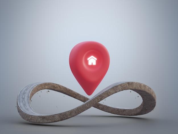 Rendu 3d de la route du symbole de l'infini dans l'itinéraire d'aventure ou le concept d'investissement immobilier
