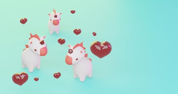 Rendu 3d de la saint-valentin. coeur rouge et licornes mignonnes sur fond bleu, minimaliste. symbole d'amour. rendu 3d moderne.