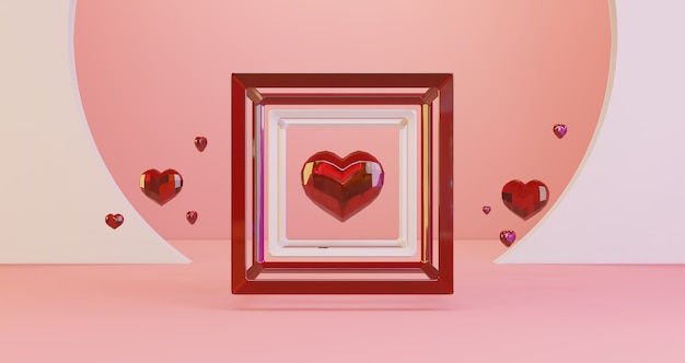 Rendu 3d de la saint-valentin. coeurs en cristal rouge flottant dans le cadre du cube sur fond rose, minimaliste. symbole d'amour. rendu 3d moderne.