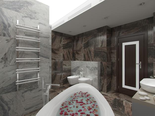 Rendu 3d salle de bain marron