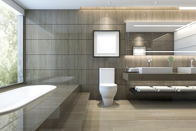 Rendu 3d de salle de bain moderne de luxe