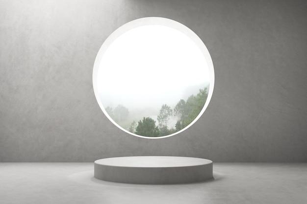 Rendu 3d de la salle de béton vide avec fenêtre grand cercle et podium rond pour la présentation du produit sur fond de nature.