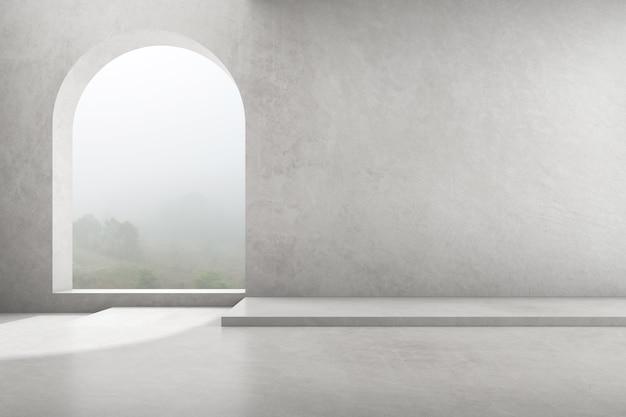 Rendu 3d de salle de béton vide avec grande fenêtre en arc sur fond de nature