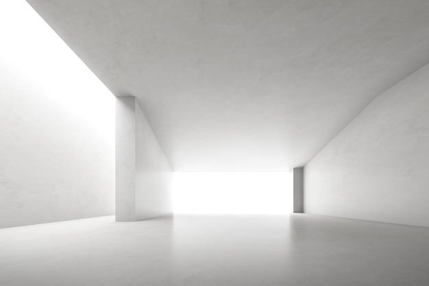 Rendu 3d d'une salle en béton vide avec une grande structure sur fond blanc.