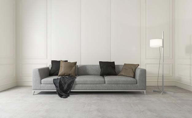 Rendu 3d salle blanche avec canapé confortable