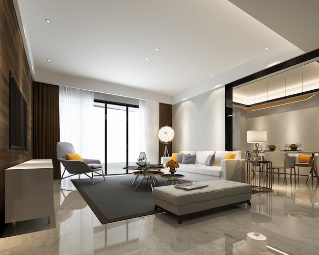 Rendu 3d de la salle à manger et du salon modernes à la décoration luxueuse