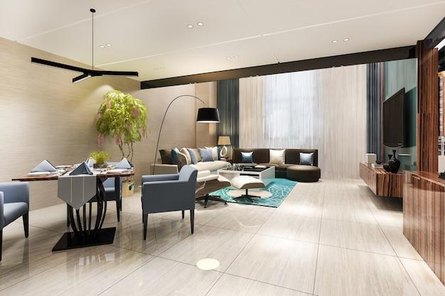 Rendu 3d salle à manger et salon modernes avec décor de luxe