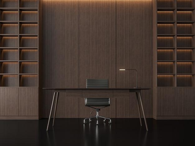 Rendu 3d de la salle de travail contemporaine moderne il y a des sols noirs et des murs en bois