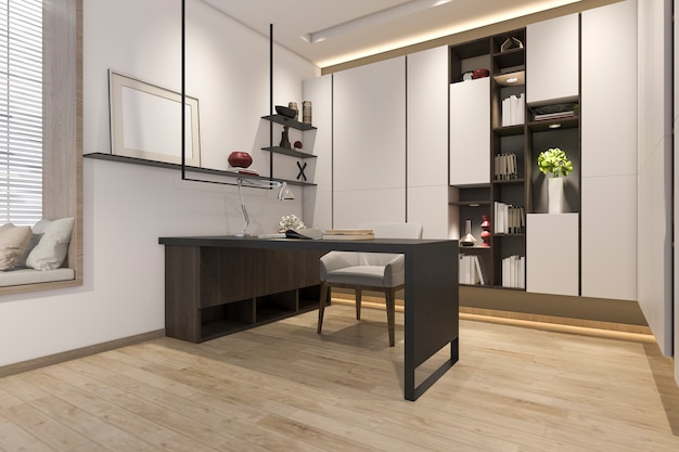 Rendu 3d salle de travail minimal moderne blanc