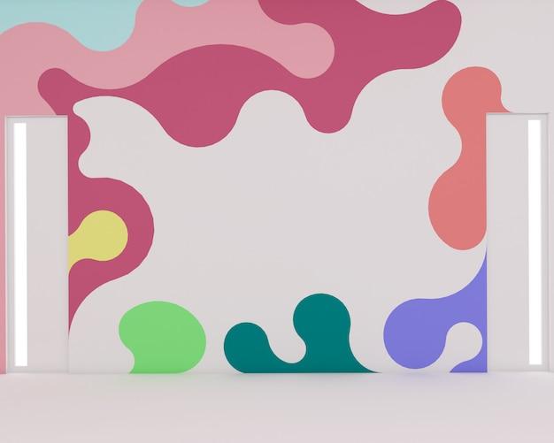Rendu 3d de salles de classe modernes et murs colorés