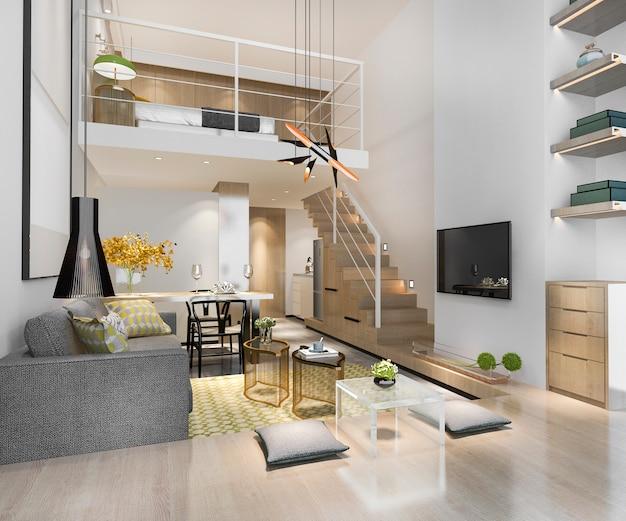 Rendu 3d salon en bois blanc près de la chambre à l'étage