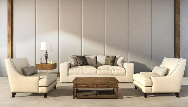 Rendu 3d salon classique fauteuil confortable