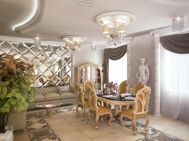 Rendu 3d d'un salon, d'un couloir et d'une cuisine de style classique