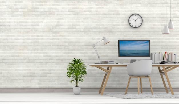 Rendu 3d de salon intérieur avec ordinateur de bureau