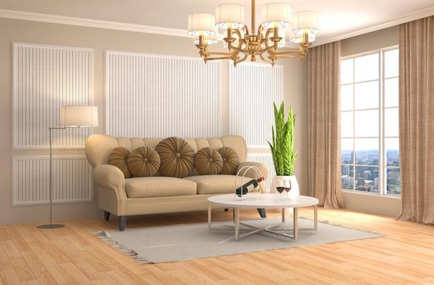 Rendu 3d d'un salon moderne