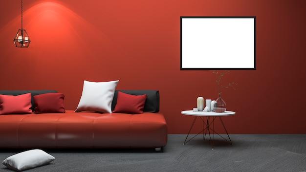 Rendu 3d salon de style moderne rouge avec une belle décoration