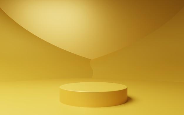 Rendu 3d d'une scène d'arrière-plan minimal abstrait en or vide pour les publicités cosmétiques