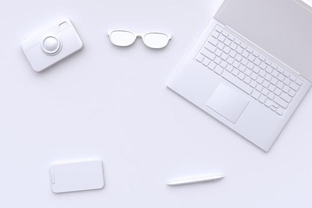 Rendu 3d scène blanche abstraite ordinateur portable caméra lunettes stylo technologie de téléphone intelligent