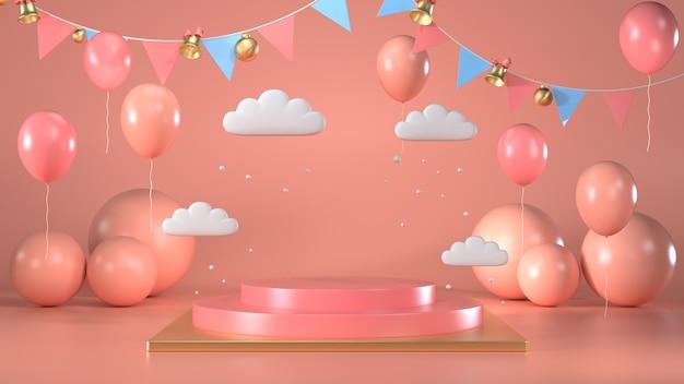Rendu 3d de la scène du piédestal rond brillant avec rose et ballons
