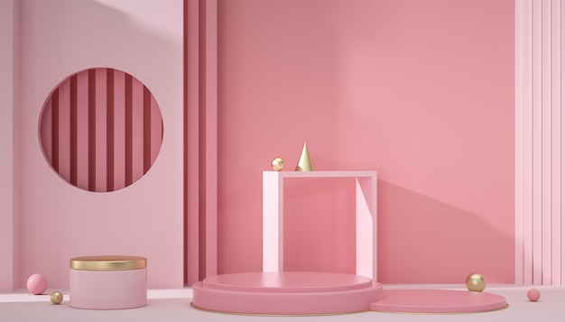 Rendu 3d de la scène de fond rose géométrique avec un simple podium pour les produits d'affichage