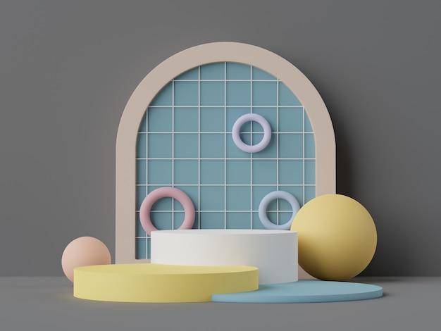 Rendu 3d de scène minimale pastel de podium blanc blanc avec thème de tons de terre couleur saturée en sourdine. conception de formes géométriques simples. affichage moderne pour la présentation du produit.