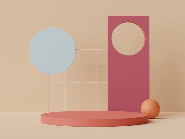 Rendu 3d de scène minimale pastel de podium vierge avec thème de tons de terre