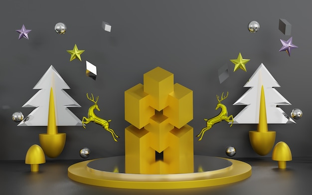 Rendu 3d de la scène de noël abstraite avec podium
